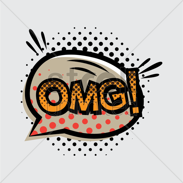 omg text with comic effect vector graphic