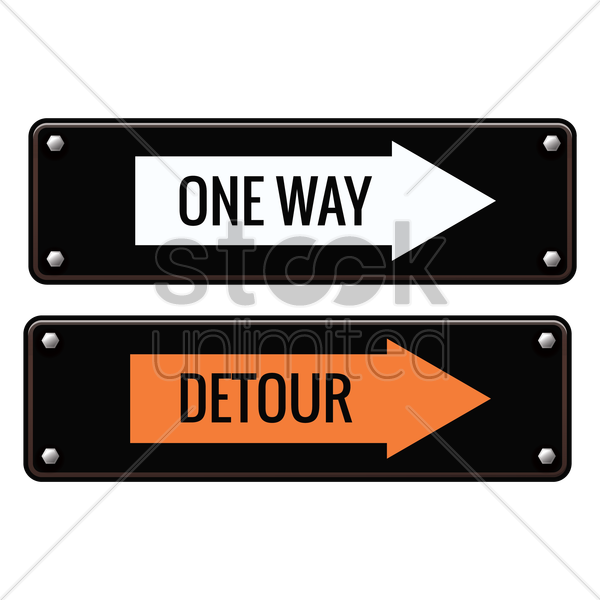 one way and detour road signs vector graphic