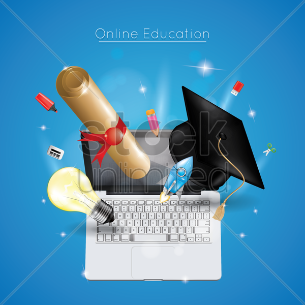 online education concept vector graphic