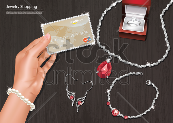online jewelry shopping vector graphic