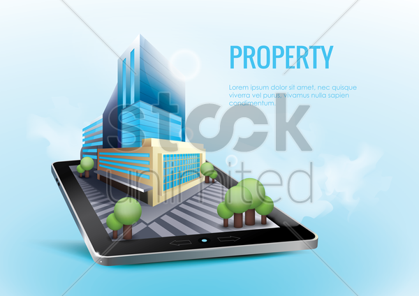 online real estate concept vector graphic
