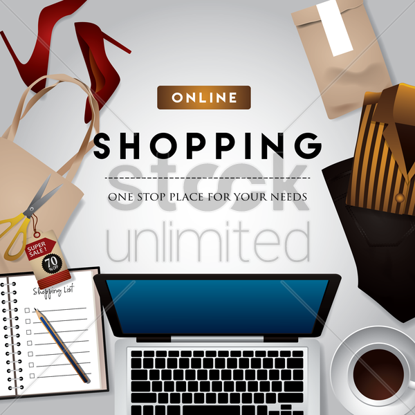 online shopping design vector graphic