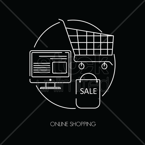 online shopping icons vector graphic