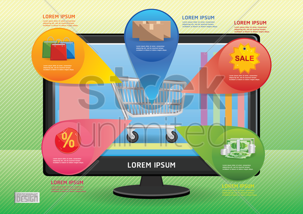 online shopping infographic vector graphic