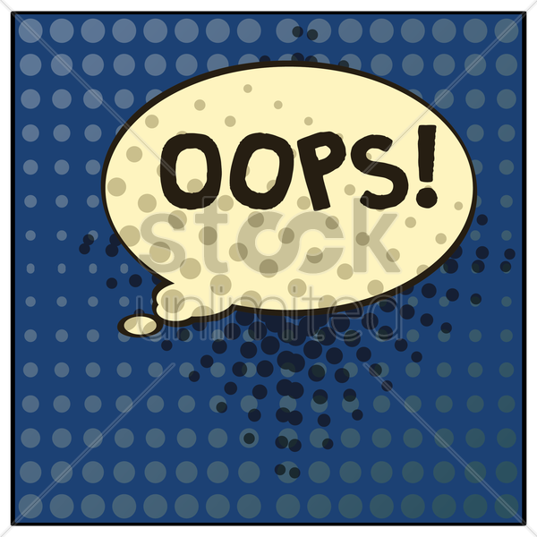oops comic speech bubble vector graphic