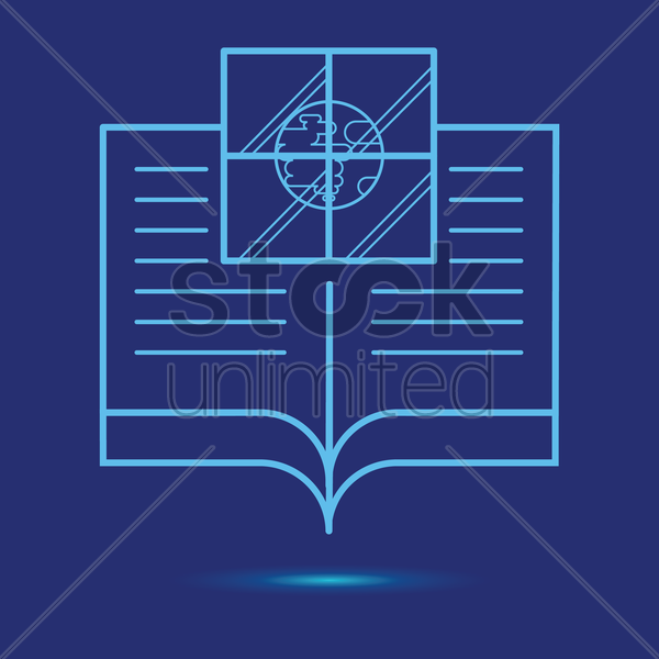 open book with globe icon vector graphic