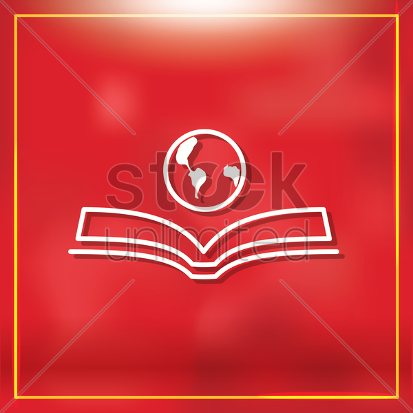 open book with globe vector graphic