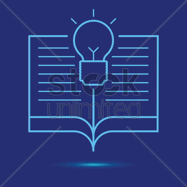 open book with light bulb icon vector graphic
