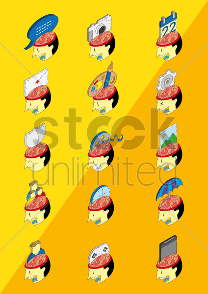 open head icons vector graphic