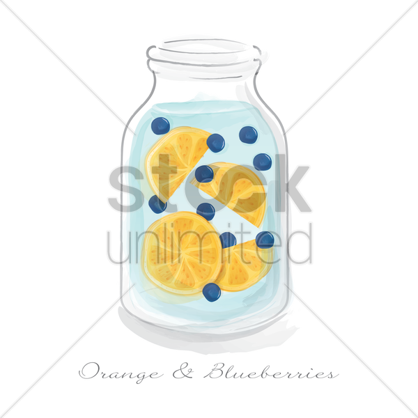 orange and blueberries in a jar vector graphic
