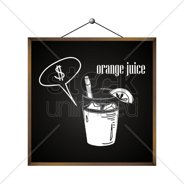 orange juice with dollar sign in speech bubble vector graphic