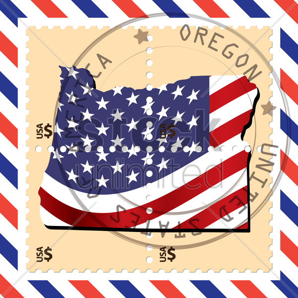oregon stamp vector graphic
