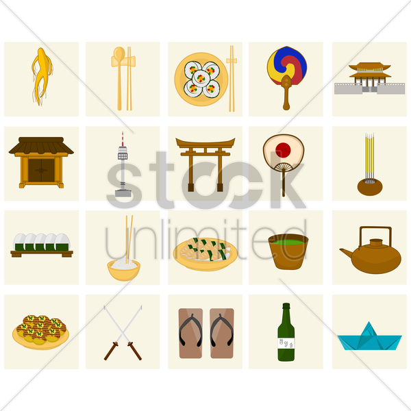 oriental icons vector graphic