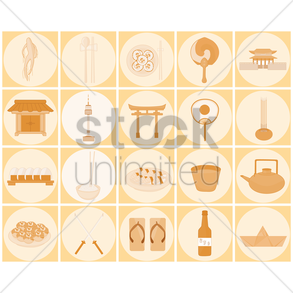 Free oriental icons vector graphic