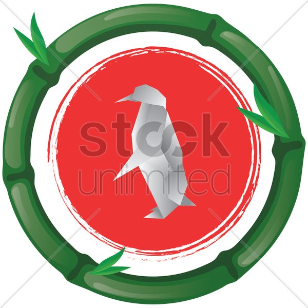 origami penguin vector graphic