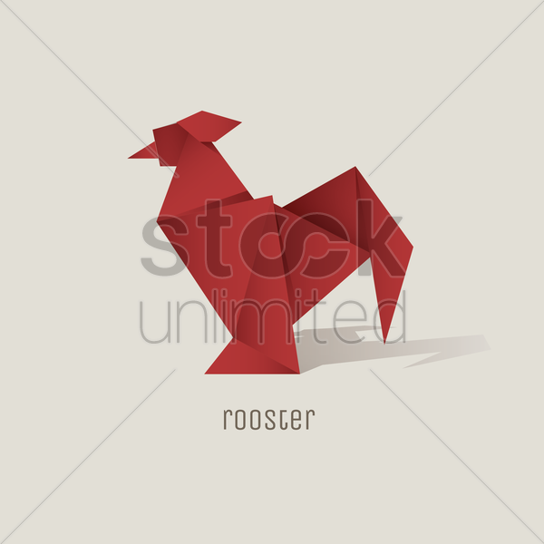 origami rooster vector graphic