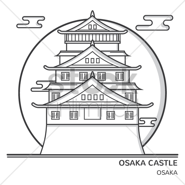 osaka castle vector graphic