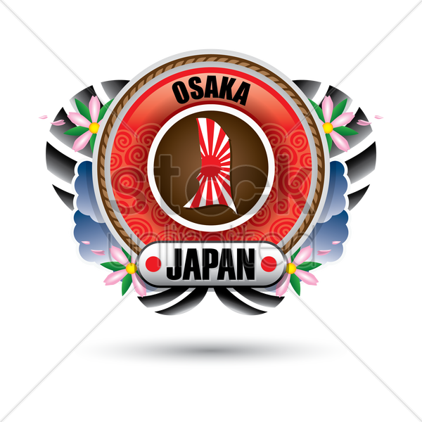 osaka map sticker vector graphic