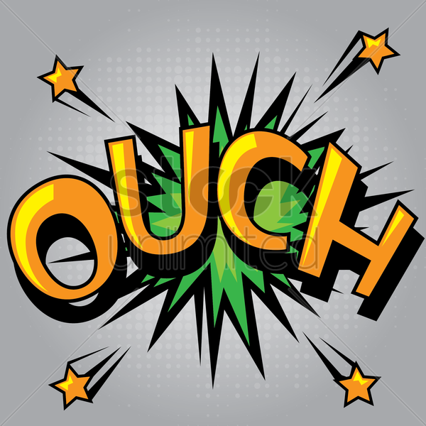 ouch comic speech bubble vector graphic