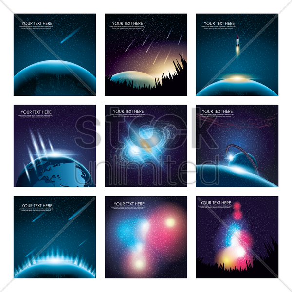 outer space background collection vector graphic