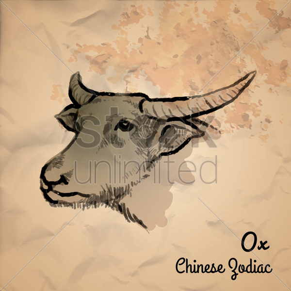 ox chinese zodiac vector graphic