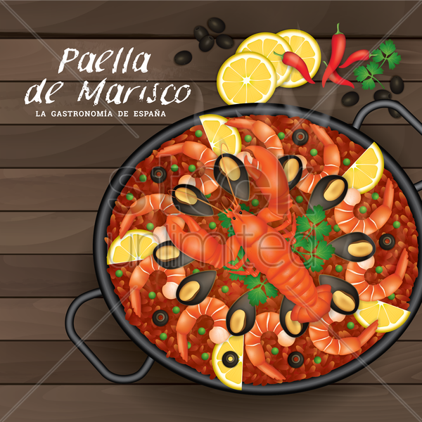 paella de marisco vector graphic