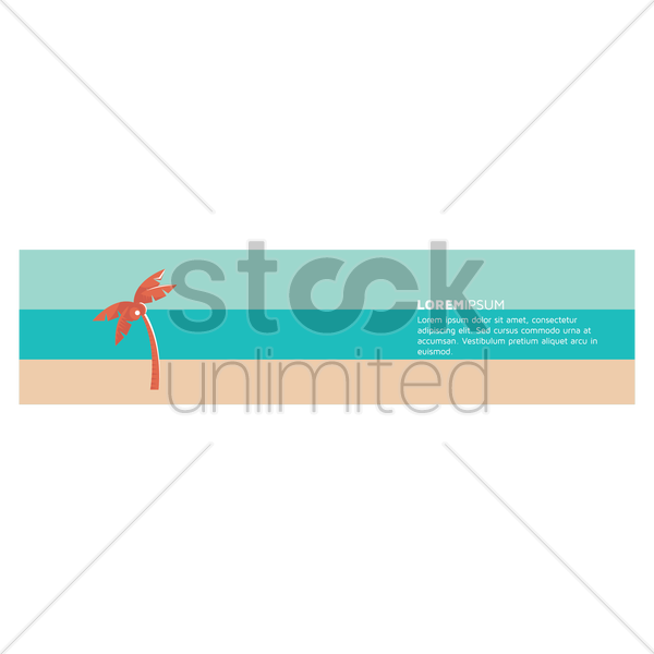 palm tree on beach banner vector graphic