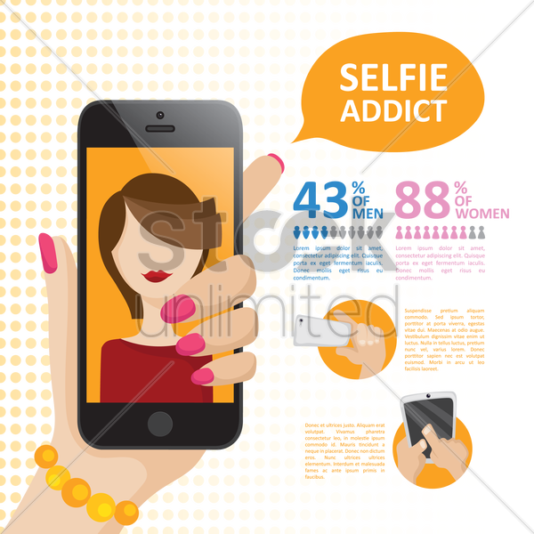 pamphlet for selfie addicts vector graphic
