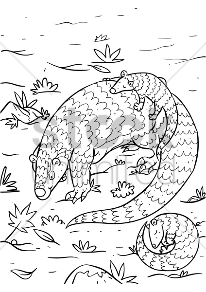 pangolin with pangopups vector graphic