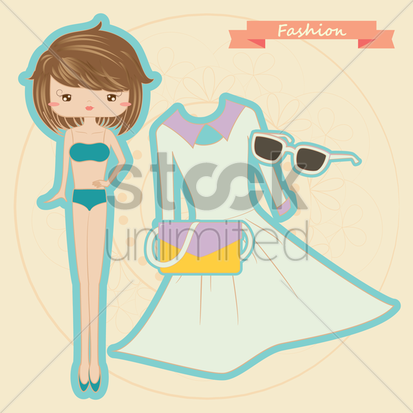 paper doll set vector graphic