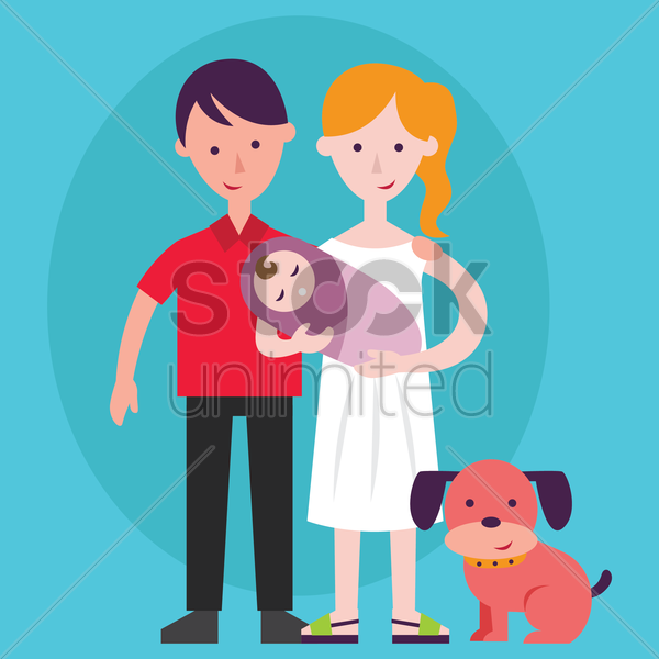 parent holding a baby and pet dog vector graphic