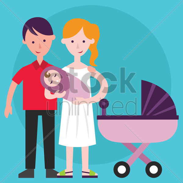 parent holding a baby vector graphic