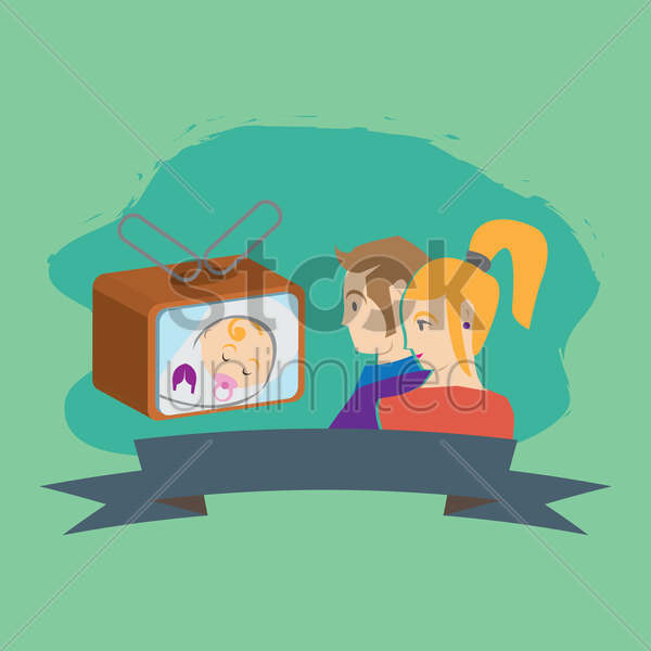 parent watching baby on television vector graphic
