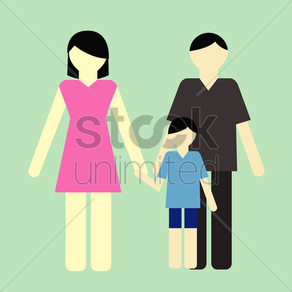 Free parent with a son vector graphic