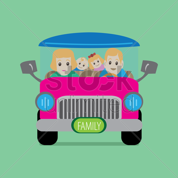 parent with children in a car vector graphic