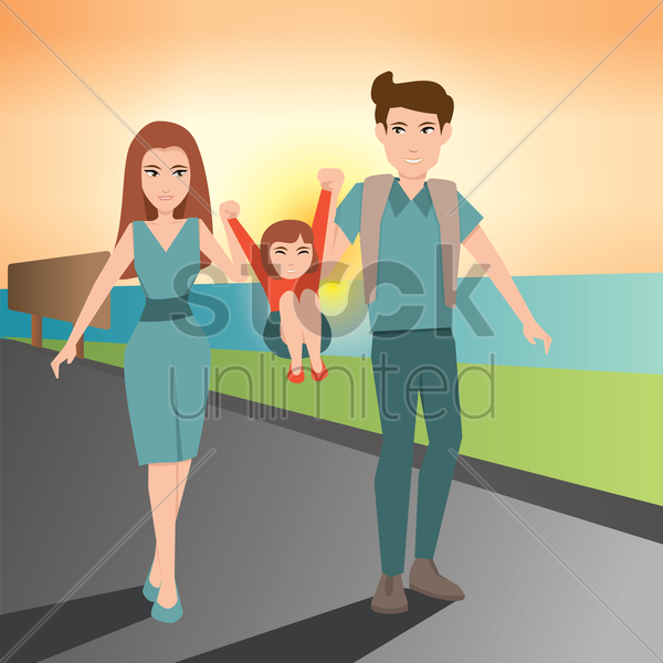 parents holding kid vector graphic