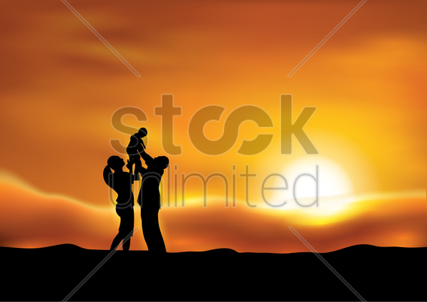 parents with a kid at sunset vector graphic