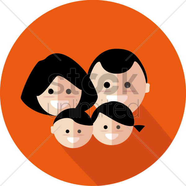 parents with a son and a daughter vector graphic