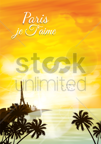 paris je faime poster vector graphic