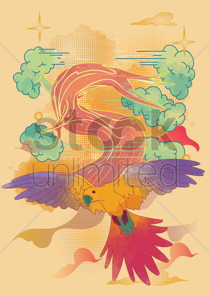 parrot flying in the woods vector graphic