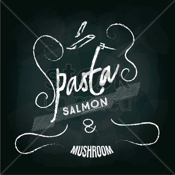 pasta salmon and mushroom menu card design vector graphic
