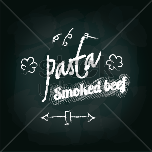 pasta smoked beef menu card design vector graphic