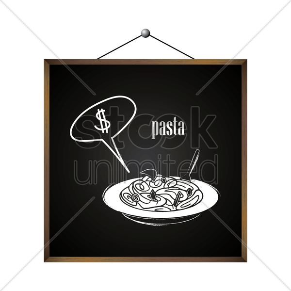 pasta with dollar sign in speech bubble vector graphic