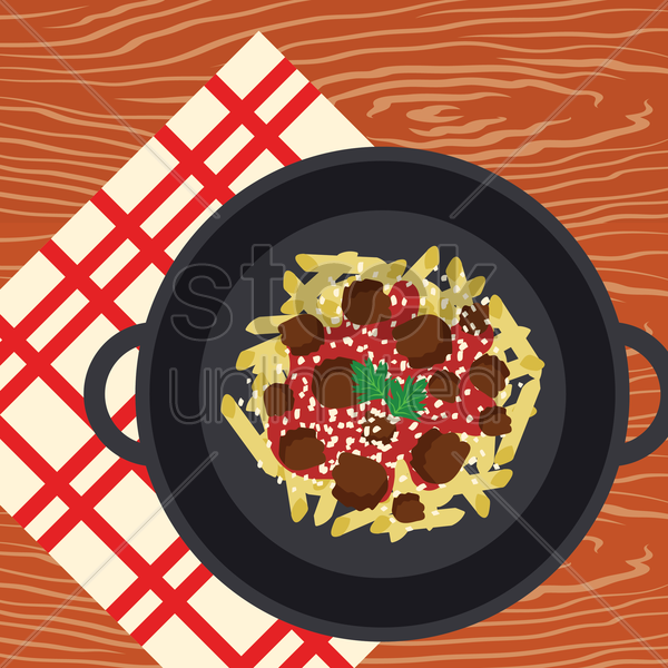 pasta with meatballs vector graphic
