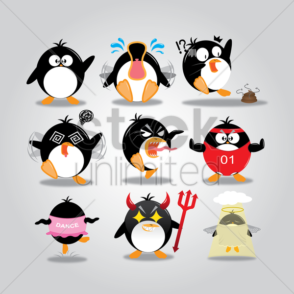 penguin with different actions vector graphic
