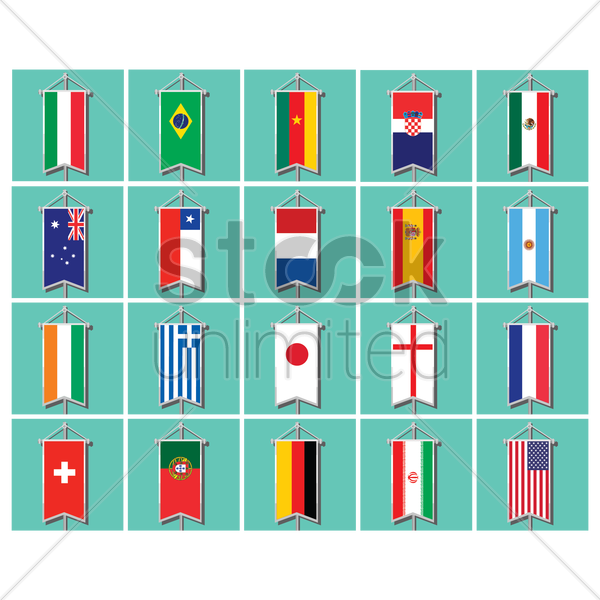pennant flags set vector graphic