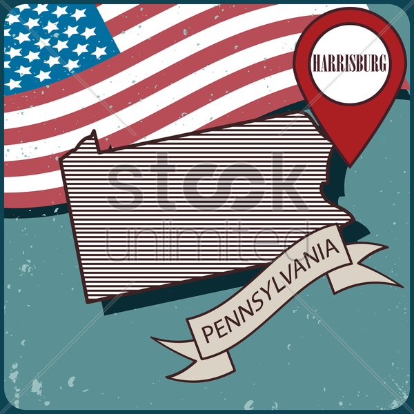 pennsylvania map label vector graphic