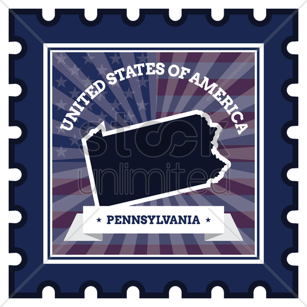 pennsylvania postage stamp vector graphic