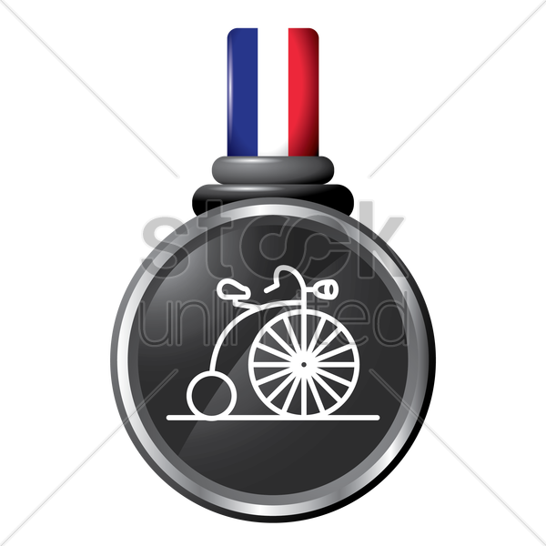 penny-farthing in a medal vector graphic