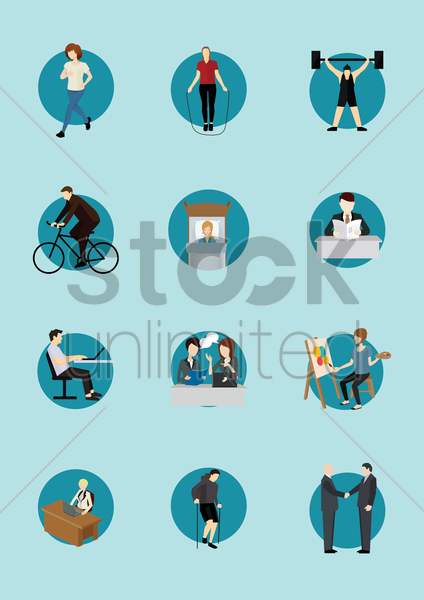 people doing different activities vector graphic